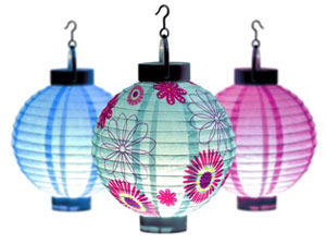 Decorative lanterns light up the night.